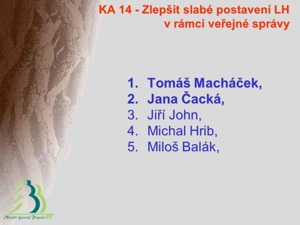 KA 14 - Zlepšit slabé postavení LH v rámci veřejné správy 1.Tomáš Macháček, 2.Jana Čacká, 3.Jiří John, 4.Michal Hrib, 5.Miloš Balák,