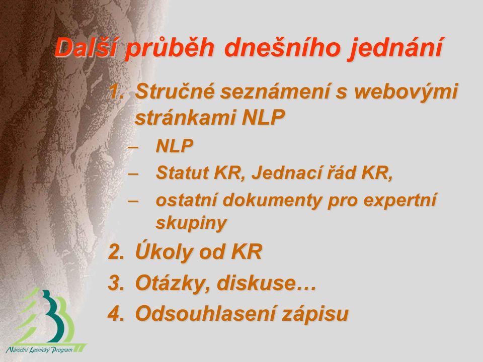 Další průběh dnešního jednání 1.Stručné seznámení s webovými stránkami NLP –NLP –Statut KR, Jednací řád KR, –ostatní dokumenty pro expertní skupiny 2.Úkoly od KR 3.Otázky, diskuse… 4.Odsouhlasení zápisu