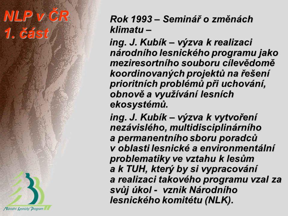 NLP v ČR 1. část Rok 1993 – Seminář o změnách klimatu – ing. J. Kubík – výzva k realizaci národního lesnického programu jako meziresortního souboru cí
