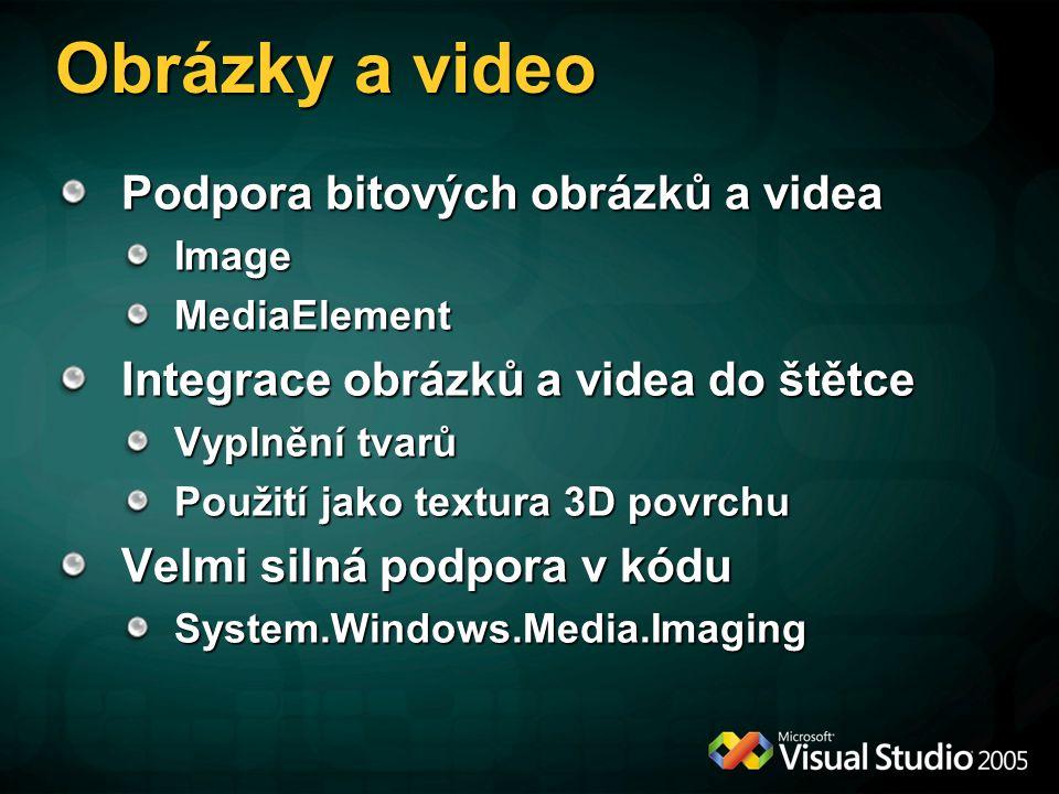 Obrázky a video Podpora bitových obrázků a videa ImageMediaElement Integrace obrázků a videa do štětce Vyplnění tvarů Použití jako textura 3D povrchu Velmi silná podpora v kódu System.Windows.Media.Imaging