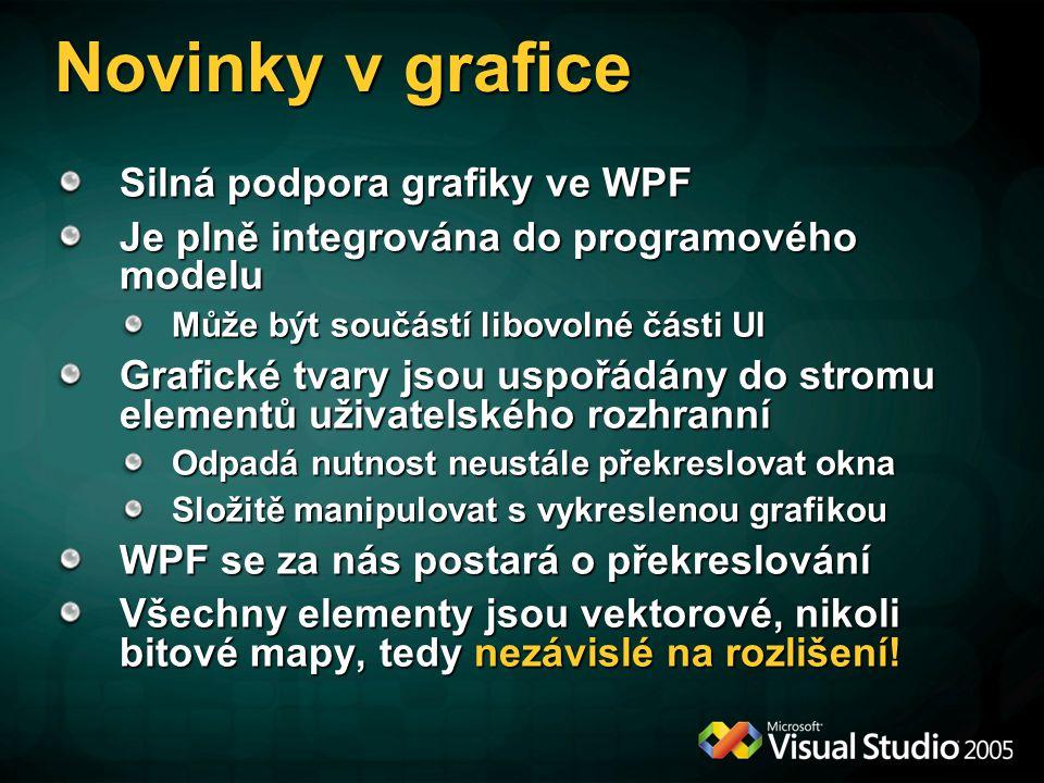 Novinky v grafice Silná podpora grafiky ve WPF Je plně integrována do programového modelu Může být součástí libovolné části UI Grafické tvary jsou uspořádány do stromu elementů uživatelského rozhranní Odpadá nutnost neustále překreslovat okna Složitě manipulovat s vykreslenou grafikou WPF se za nás postará o překreslování Všechny elementy jsou vektorové, nikoli bitové mapy, tedy nezávislé na rozlišení!