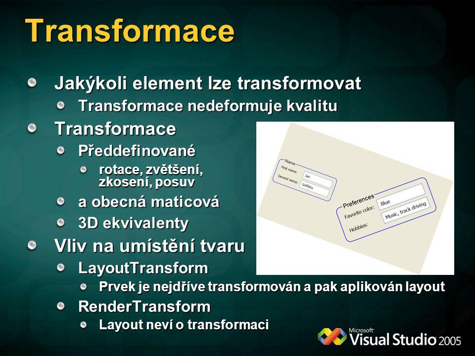 Transformace Jakýkoli element lze transformovat Transformace nedeformuje kvalitu TransformacePředdefinované rotace, zvětšení, zkosení, posuv a obecná maticová 3D ekvivalenty Vliv na umístění tvaru LayoutTransform Prvek je nejdříve transformován a pak aplikován layout RenderTransform Layout neví o transformaci