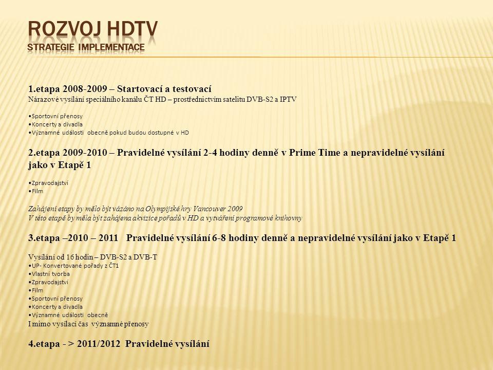 1.etapa 2008-2009 – Startovací a testovací Nárazové vysílání speciálního kanálu ČT HD – prostřednictvím satelitu DVB-S2 a IPTV Sportovní přenosy Koncerty a divadla Významné události obecně pokud budou dostupné v HD 2.etapa 2009-2010 – Pravidelné vysílání 2-4 hodiny denně v Prime Time a nepravidelné vysílání jako v Etapě 1 Zpravodajství Film Zahájení etapy by mělo být vázáno na Olympijské hry Vancouver 2009 V této etapě by měla být zahájena akvizice pořadů v HD a vytváření programové knihovny 3.etapa –2010 – 2011 Pravidelné vysílání 6-8 hodiny denně a nepravidelné vysílání jako v Etapě 1 Vysílání od 16 hodin – DVB-S2 a DVB-T UP- Konvertované pořady z ČT1 Vlastní tvorba Zpravodajství Film Sportovní přenosy Koncerty a divadla Významné události obecně I mimo vysílací čas významné přenosy 4.etapa - > 2011/2012 Pravidelné vysílání