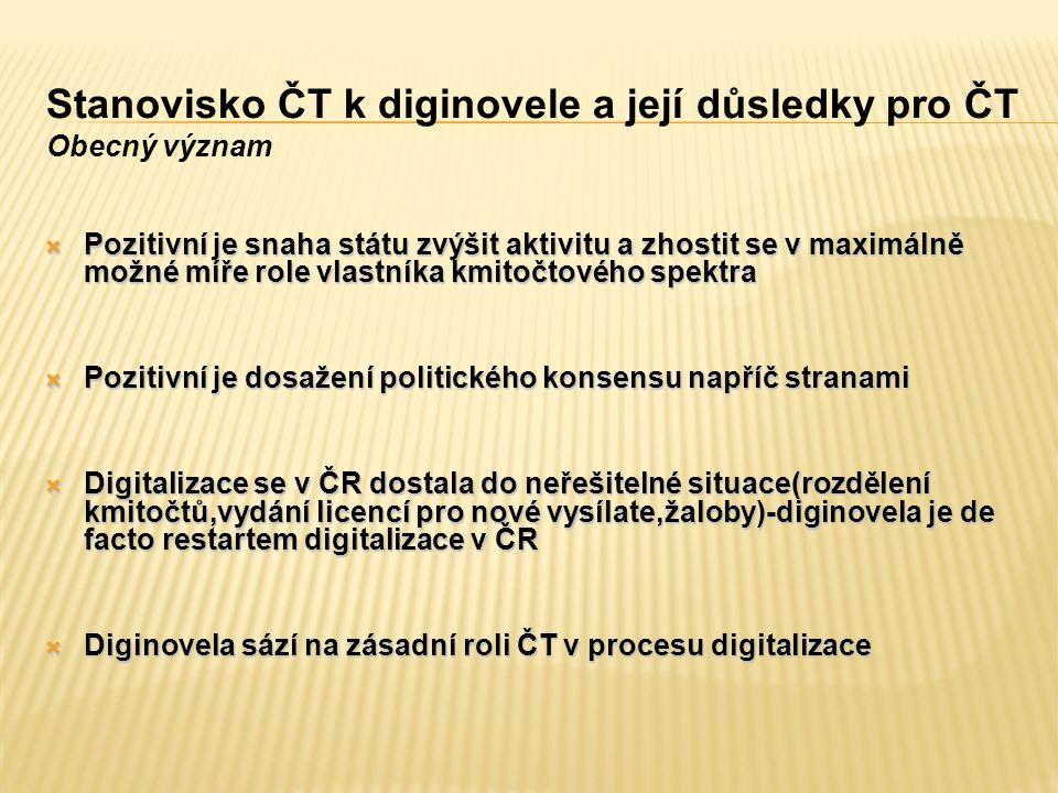 Stanovisko ČT k diginovele a její důsledky pro ČT Obecný význam  Pozitivní je snaha státu zvýšit aktivitu a zhostit se v maximálně možné míře role vlastníka kmitočtového spektra  Pozitivní je dosažení politického konsensu napříč stranami  Digitalizace se v ČR dostala do neřešitelné situace(rozdělení kmitočtů,vydání licencí pro nové vysílate,žaloby)-diginovela je de facto restartem digitalizace v ČR  Diginovela sází na zásadní roli ČT v procesu digitalizace