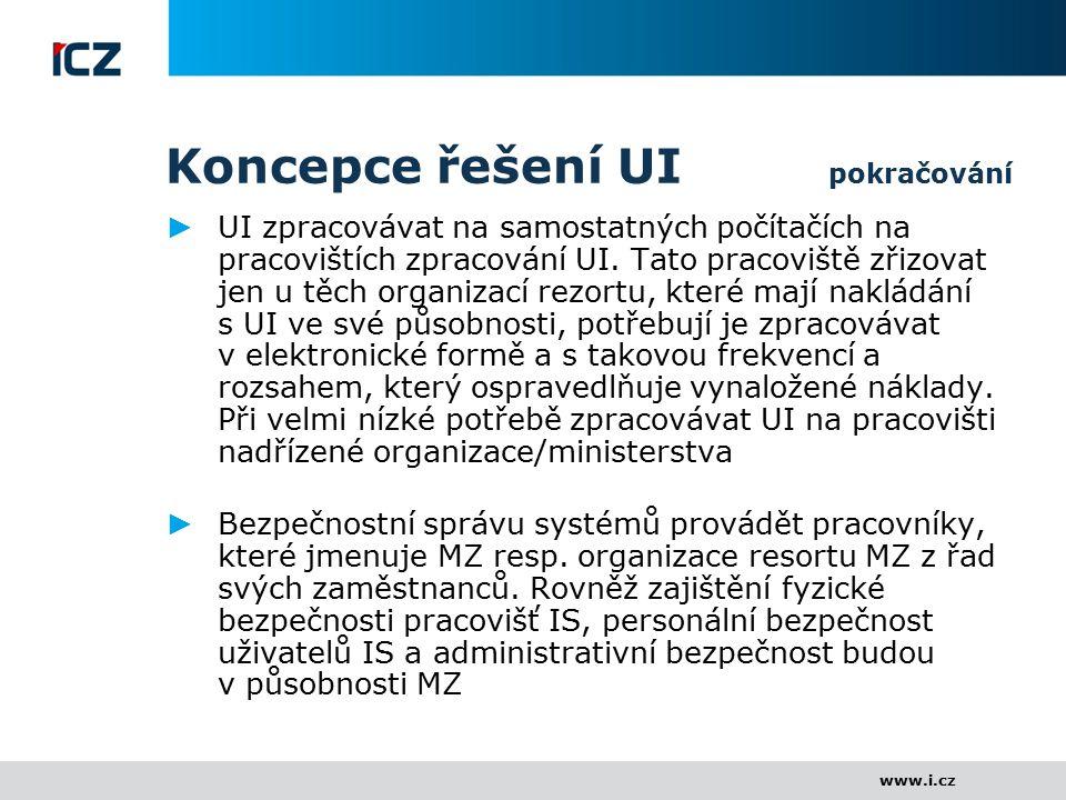 www.i.cz Koncepce řešení UI pokračování ► UI zpracovávat na samostatných počítačích na pracovištích zpracování UI. Tato pracoviště zřizovat jen u těch