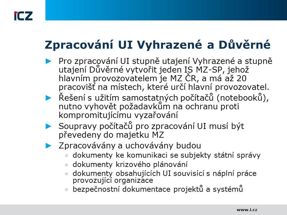 www.i.cz Zpracování UI Vyhrazené a Důvěrné ► Pro zpracování UI stupně utajení Vyhrazené a stupně utajení Důvěrné vytvořit jeden IS MZ-SP, jehož hlavní