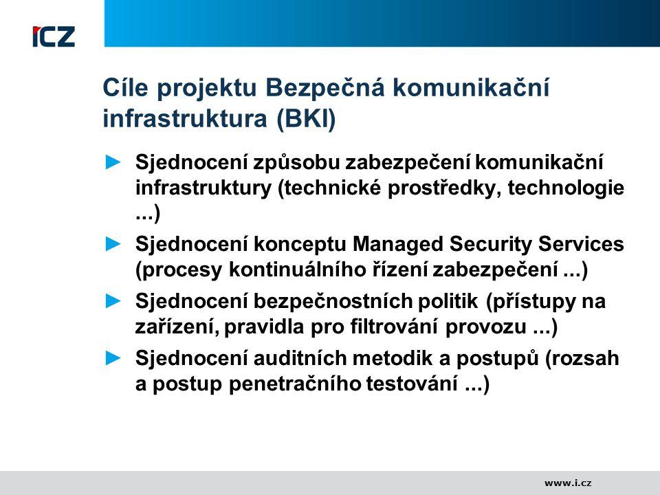 www.i.cz Cíle projektu Bezpečná komunikační infrastruktura (BKI) ►Sjednocení způsobu zabezpečení komunikační infrastruktury (technické prostředky, tec