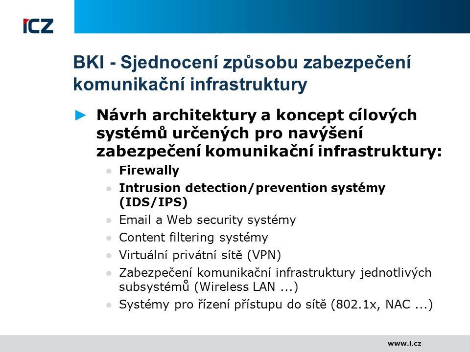 www.i.cz BKI - Sjednocení způsobu zabezpečení komunikační infrastruktury ► Návrh architektury a koncept cílových systémů určených pro navýšení zabezpe
