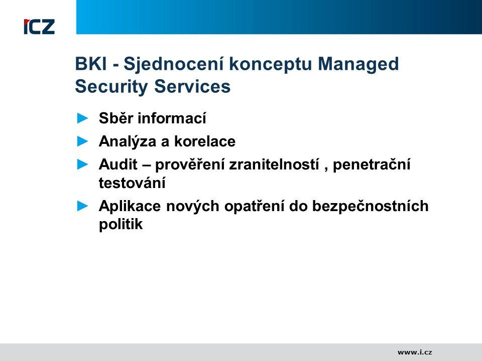 www.i.cz BKI - Sjednocení konceptu Managed Security Services ►Sběr informací ►Analýza a korelace ►Audit – prověření zranitelností, penetrační testován