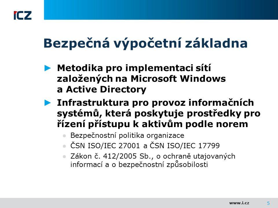 www.i.cz Bezpečná výpočetní základna ► Metodika pro implementaci sítí založených na Microsoft Windows a Active Directory ► Infrastruktura pro provoz i