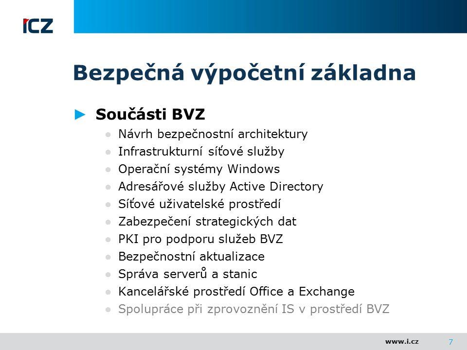 www.i.cz Bezpečná výpočetní základna ► Součásti BVZ ● Návrh bezpečnostní architektury ● Infrastrukturní síťové služby ● Operační systémy Windows ● Adr