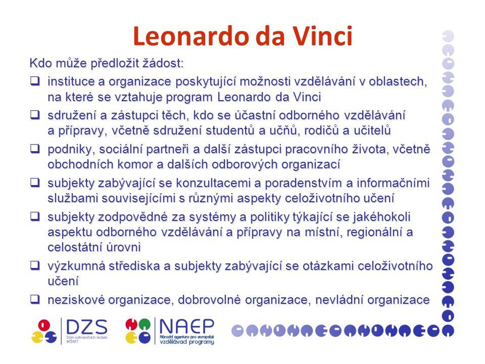 Leonardo da Vinci Kdo může předložit žádost:  instituce a organizace poskytující možnosti vzdělávání v oblastech, na které se vztahuje program Leonardo da Vinci  sdružení a zástupci těch, kdo se účastní odborného vzdělávání a přípravy, včetně sdružení studentů a učňů, rodičů a učitelů  podniky, sociální partneři a další zástupci pracovního života, včetně obchodních komor a dalších odborových organizací  subjekty zabývající se konzultacemi a poradenstvím a informačními službami souvisejícími s různými aspekty celoživotního učení  subjekty zodpovědné za systémy a politiky týkající se jakéhokoli aspektu odborného vzdělávání a přípravy na místní, regionální a celostátní úrovni  výzkumná střediska a subjekty zabývající se otázkami celoživotního učení  neziskové organizace, dobrovolné organizace, nevládní organizace