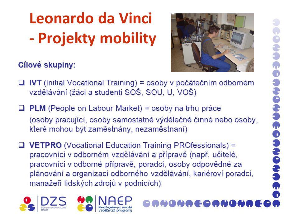 Leonardo da Vinci - Projekty mobility Cílové skupiny:  IVT (Initial Vocational Training) = osoby v počátečním odborném vzdělávání (žáci a studenti SOŠ, SOU, U, VOŠ)  PLM (People on Labour Market) = osoby na trhu práce (osoby pracující, osoby samostatně výdělečně činné nebo osoby, které mohou být zaměstnány, nezaměstnaní)  VETPRO (Vocational Education Training PROfessionals) = pracovníci v odborném vzdělávání a přípravě (např.