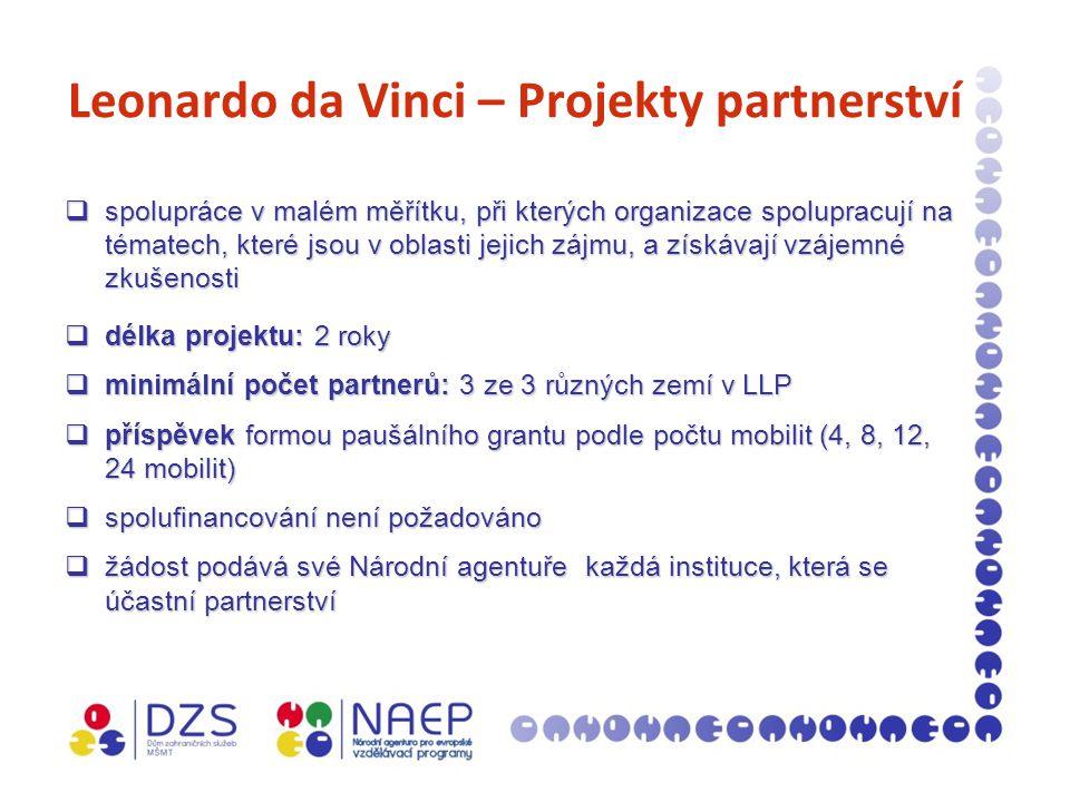 Leonardo da Vinci – Projekty partnerství  spolupráce v malém měřítku, při kterých organizace spolupracují na tématech, které jsou v oblasti jejich zájmu, a získávají vzájemné zkušenosti  délka projektu: 2 roky  minimální počet partnerů: 3 ze 3 různých zemí v LLP  příspěvek formou paušálního grantu podle počtu mobilit (4, 8, 12, 24 mobilit)  spolufinancování není požadováno  žádost podává své Národní agentuře každá instituce, která se účastní partnerství