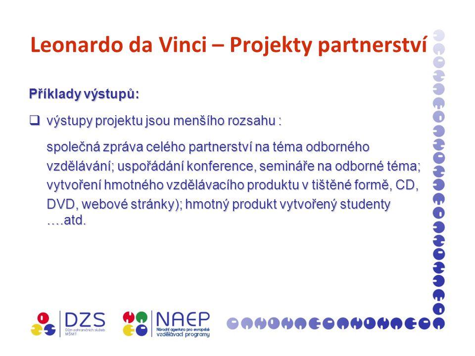 Leonardo da Vinci – Projekty partnerství Příklady výstupů:  výstupy projektu jsou menšího rozsahu : společná zpráva celého partnerství na téma odborného vzdělávání; uspořádání konference, semináře na odborné téma; vytvoření hmotného vzdělávacího produktu v tištěné formě, CD, DVD, webové stránky); hmotný produkt vytvořený studenty ….atd.