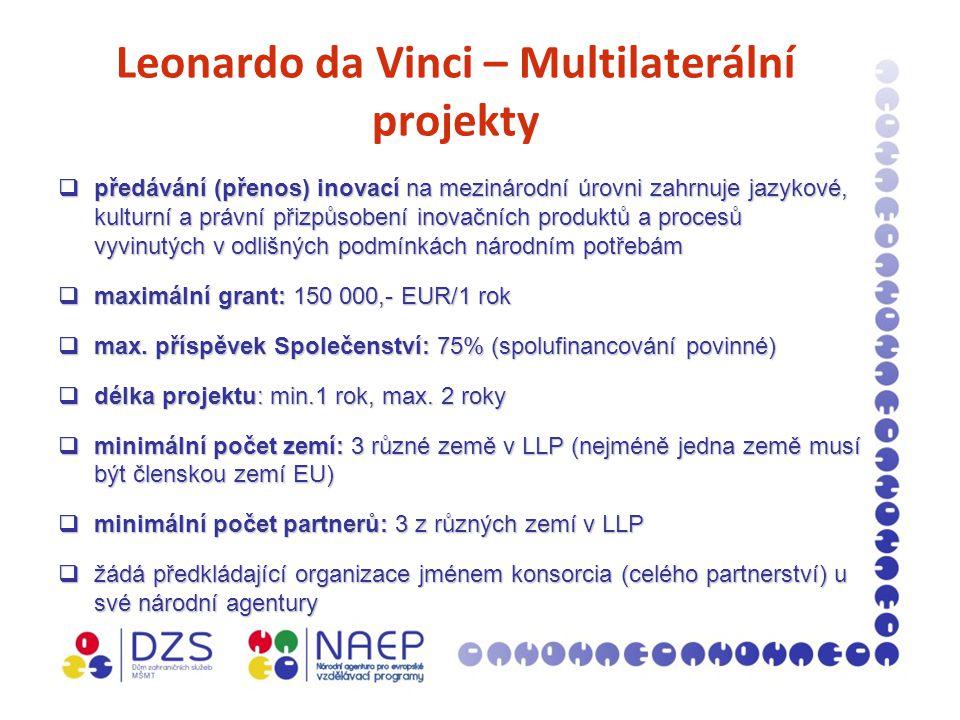 Leonardo da Vinci – Multilaterální projekty  předávání (přenos) inovací na mezinárodní úrovni zahrnuje jazykové, kulturní a právní přizpůsobení inovačních produktů a procesů vyvinutých v odlišných podmínkách národním potřebám  maximální grant: 150 000,- EUR/1 rok  max.