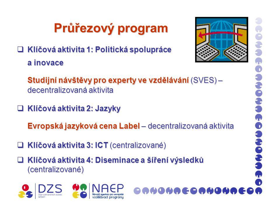 Program SVES Program SVES  SVES 1 – studijní návštěvy: v roce 2008 přijato 169 žádostí; schváleno 74 žádostí;  SVES 2 – organizace studijních návštěv v ČR: finanční podpora organizátorům je poskytována MŠMT v max.