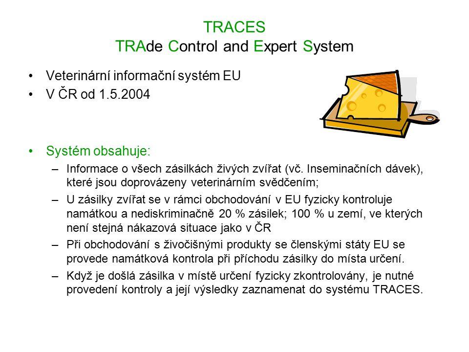 TRACES TRAde Control and Expert System Veterinární informační systém EU V ČR od 1.5.2004 Systém obsahuje: –Informace o všech zásilkách živých zvířat (