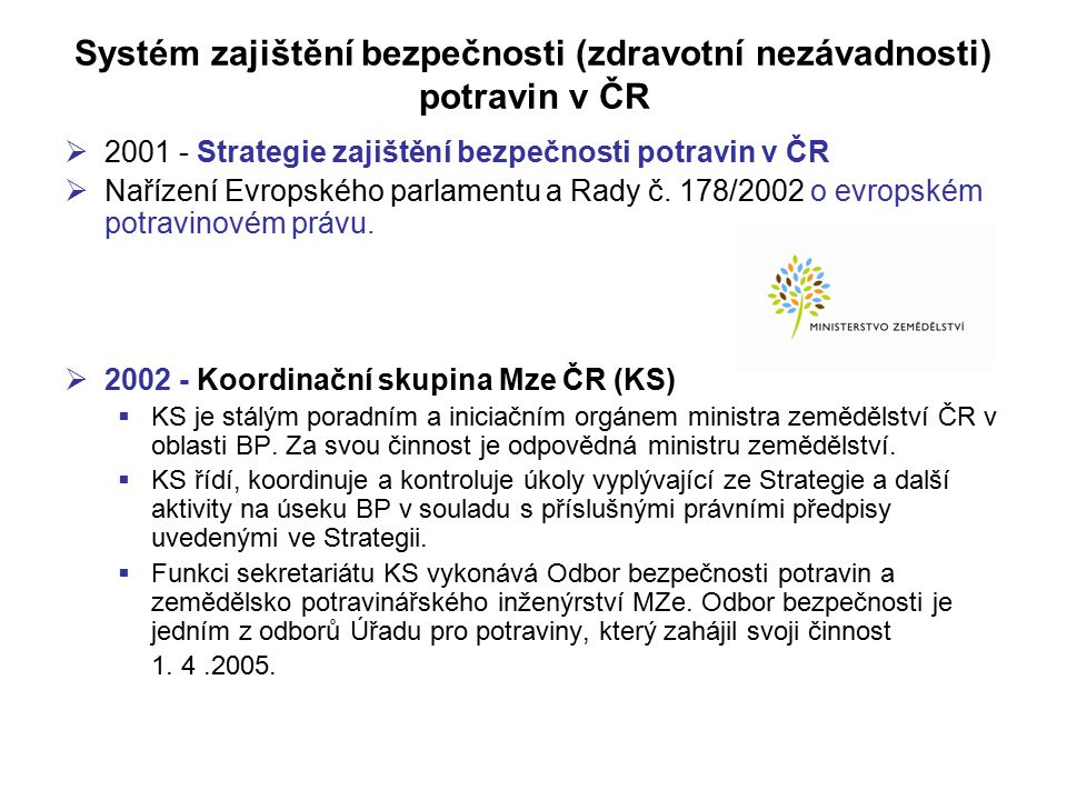 Systém zajištění bezpečnosti (zdravotní nezávadnosti) potravin v ČR  2001 - Strategie zajištění bezpečnosti potravin v ČR  Nařízení Evropského parla
