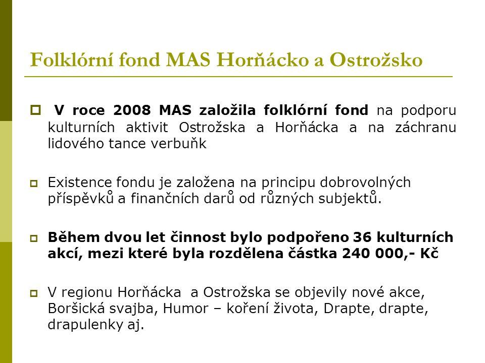 Projekty MAS Horňácko a Ostrožsko  Moravsko slezské ovocné stezky: Národní projekt ve spolupráci ze sedmi MAS. Podpořen z PRV ČR – Osa IV. 2.1. – Rea
