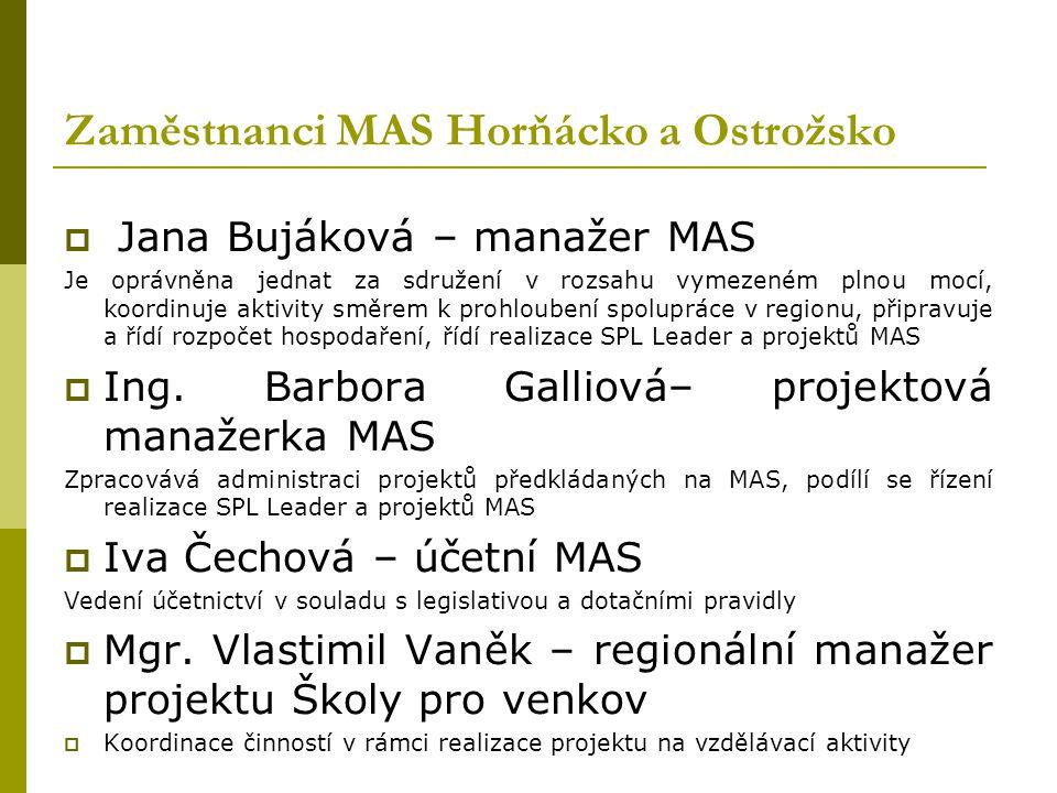 Výběrová komise MAS  Je orgánem MAS, který je šestičlenný Mgr. Vlastimil Vaněk, Ing. Jiří Pšurný, Milan Švrček, František Křivák, Vladimír Švihel, Ja