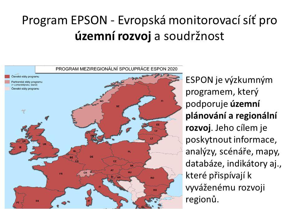 Program EPSON - Evropská monitorovací síť pro územní rozvoj a soudržnost ESPON je výzkumným programem, který podporuje územní plánování a regionální r