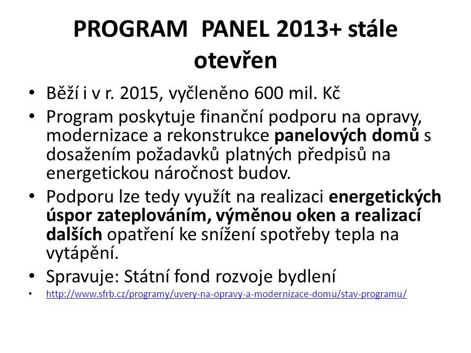 PROGRAM PANEL 2013+ stále otevřen Běží i v r. 2015, vyčleněno 600 mil. Kč Program poskytuje finanční podporu na opravy, modernizace a rekonstrukce pan