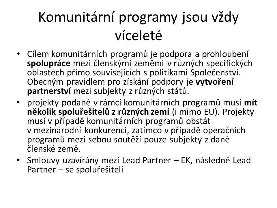 Komunitární programy jsou vždy víceleté Cílem komunitárních programů je podpora a prohloubení spolupráce mezi členskými zeměmi v různých specifických