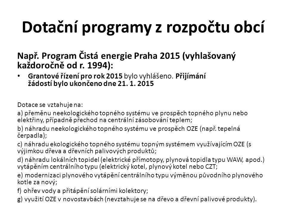 Dotační programy z rozpočtu obcí Např. Program Čistá energie Praha 2015 (vyhlašovaný každoročně od r. 1994): Grantové řízení pro rok 2015 bylo vyhláše