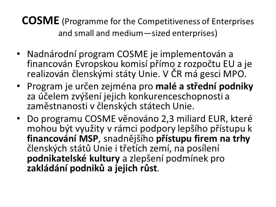 COSME (Programme for the Competitiveness of Enterprises and small and medium—sized enterprises) Nadnárodní program COSME je implementován a financován