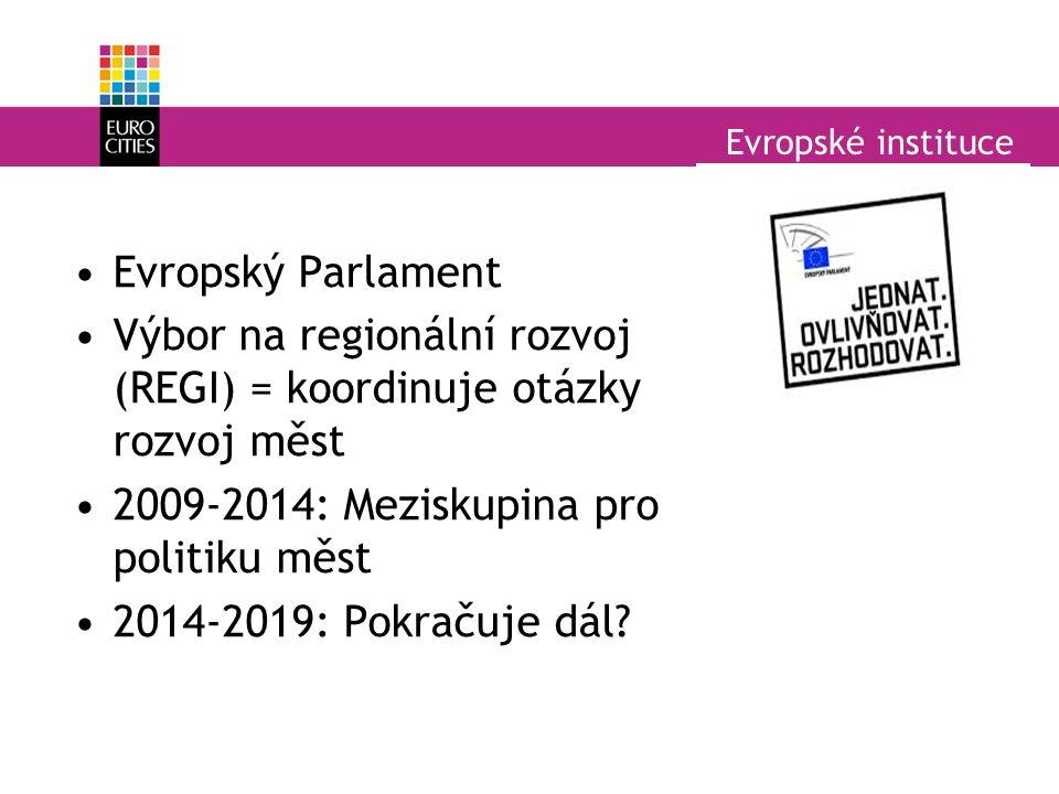 Evropské instituce Evropský Parlament Výbor na regionální rozvoj (REGI) = koordinuje otázky rozvoj měst 2009-2014: Meziskupina pro politiku měst 2014-2019: Pokračuje dál