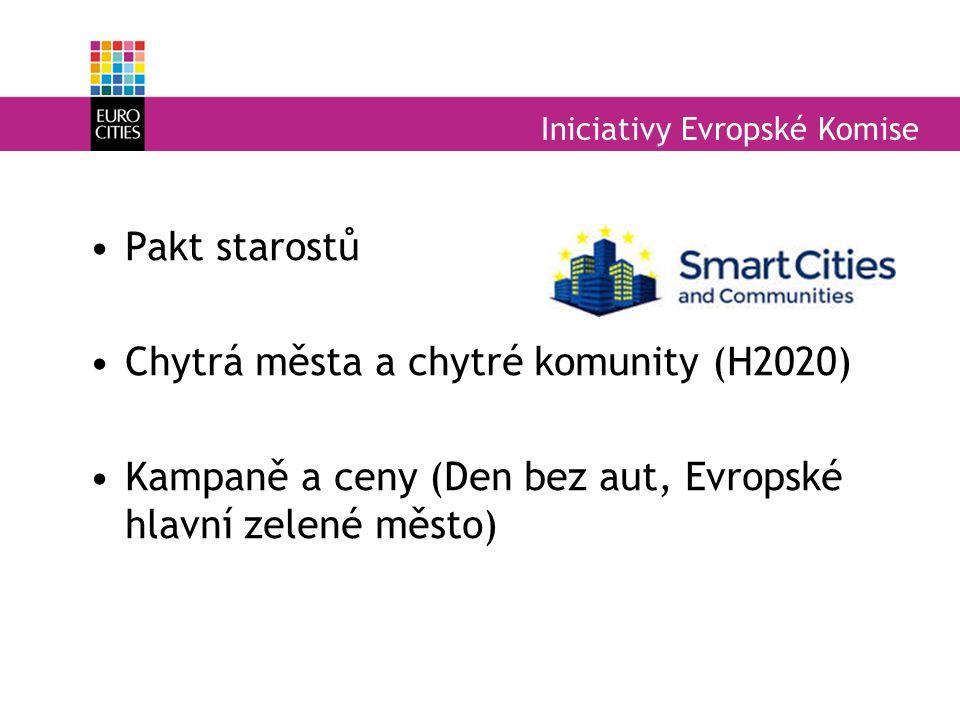 Iniciativy Evropské Komise Pakt starostů Chytrá města a chytré komunity (H2020) Kampaně a ceny (Den bez aut, Evropské hlavní zelené město)