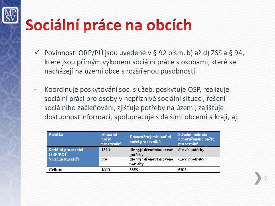 3 Povinnosti ORP/PÚ jsou uvedené v § 92 písm. b) až d) ZSS a § 94, které jsou přímým výkonem sociální práce s osobami, které se nacházejí na území obc