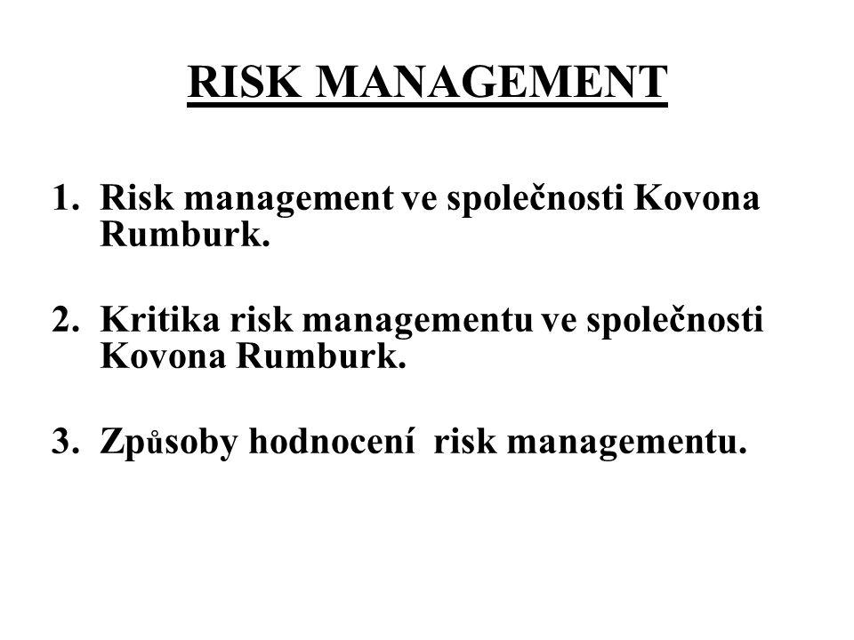 RM VE FIKTIVNÍ SPOLE Č NOSTI KOVONA RUMBURK (1) Koncepce klasifikace rizik Rizika jsou rozd ě lena do 7 kategorií dle původu rizika (tržní riziko, finanční riziko, legislativní rizika, provozní rizika,personální, ostatní rizika - IT, ) Dopady jsou sledovány podle klí č ových č inností (zásobování, výroba, odbyt, správní činnost)