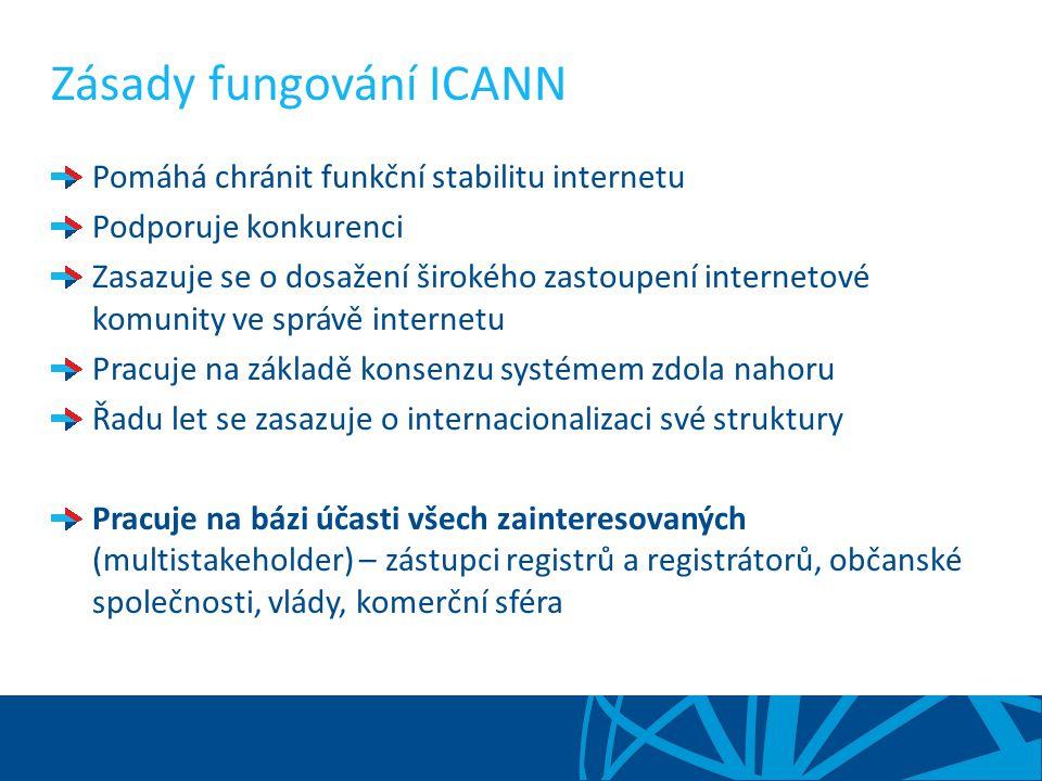 Zásady fungování ICANN Pomáhá chránit funkční stabilitu internetu Podporuje konkurenci Zasazuje se o dosažení širokého zastoupení internetové komunity ve správě internetu Pracuje na základě konsenzu systémem zdola nahoru Řadu let se zasazuje o internacionalizaci své struktury Pracuje na bázi účasti všech zainteresovaných (multistakeholder) – zástupci registrů a registrátorů, občanské společnosti, vlády, komerční sféra
