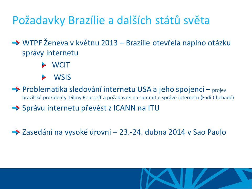 Požadavky Brazílie a dalších států světa WTPF Ženeva v květnu 2013 – Brazílie otevřela naplno otázku správy internetu WCIT WSIS Problematika sledování internetu USA a jeho spojenci – projev brazilské prezidenty Dilmy Rousseff a požadavek na summit o správě internetu (Fadi Chehadé) Správu internetu převést z ICANN na ITU Zasedání na vysoké úrovni – 23.-24.
