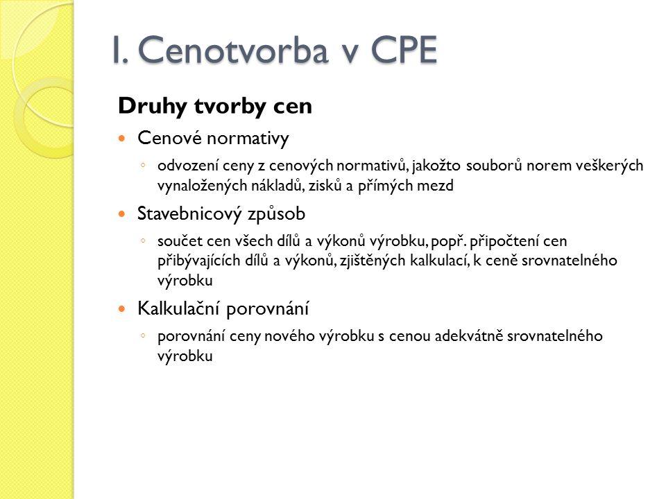 I. Cenotvorba v CPE Druhy tvorby cen Cenové normativy ◦ odvození ceny z cenových normativů, jakožto souborů norem veškerých vynaložených nákladů, zisk
