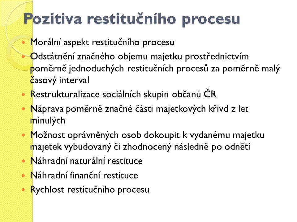 Pozitiva restitučního procesu Morální aspekt restitučního procesu Odstátnění značného objemu majetku prostřednictvím poměrně jednoduchých restitučních