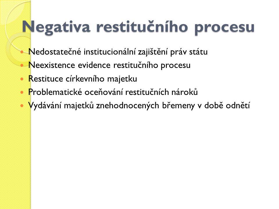 Negativa restitučního procesu Nedostatečné institucionální zajištění práv státu Neexistence evidence restitučního procesu Restituce církevního majetku