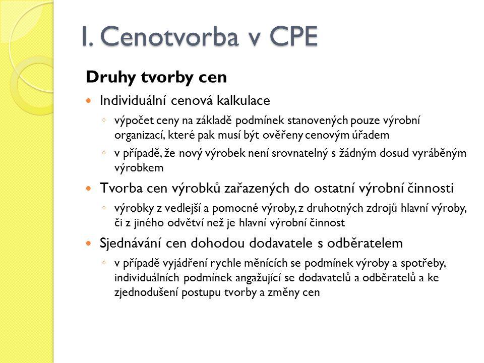 I. Cenotvorba v CPE Druhy tvorby cen Individuální cenová kalkulace ◦ výpočet ceny na základě podmínek stanovených pouze výrobní organizací, které pak
