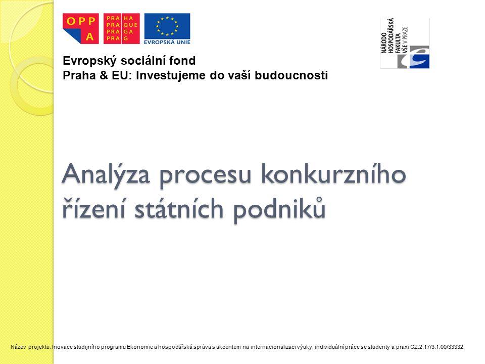 Analýza procesu konkurzního řízení státních podniků Evropský sociální fond Praha & EU: Investujeme do vaší budoucnosti Název projektu: Inovace studijního programu Ekonomie a hospodářská správa s akcentem na internacionalizaci výuky, individuální práce se studenty a praxi CZ.2.17/3.1.00/33332