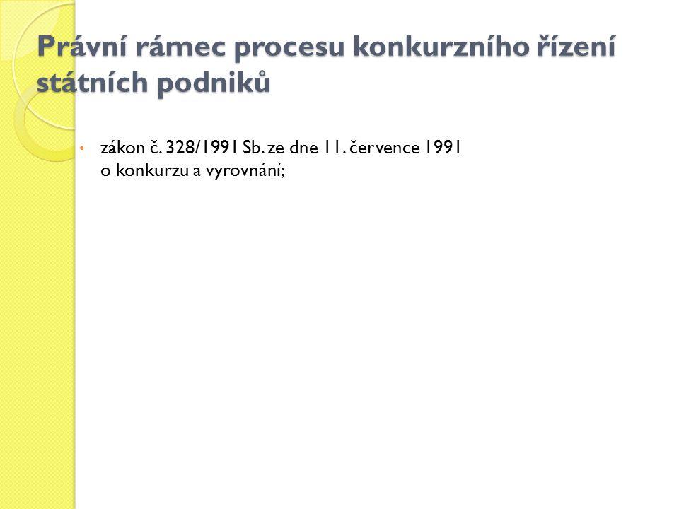 Právní rámec procesu konkurzního řízení státních podniků zákon č. 328/1991 Sb. ze dne 11. července 1991 o konkurzu a vyrovnání;