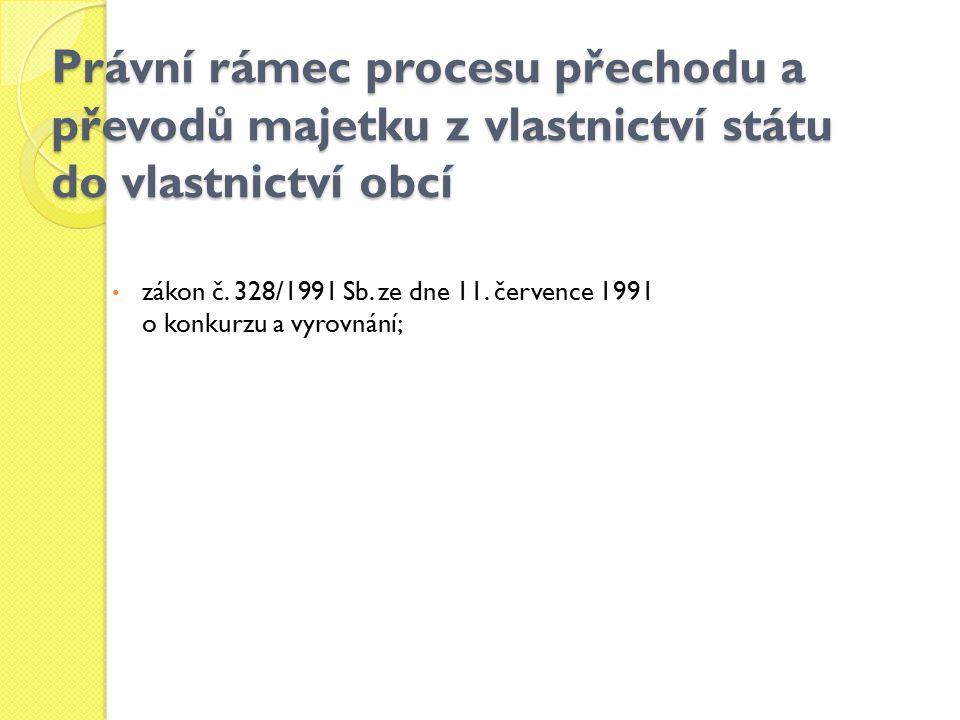 Právní rámec procesu přechodu a převodů majetku z vlastnictví státu do vlastnictví obcí zákon č. 328/1991 Sb. ze dne 11. července 1991 o konkurzu a vy