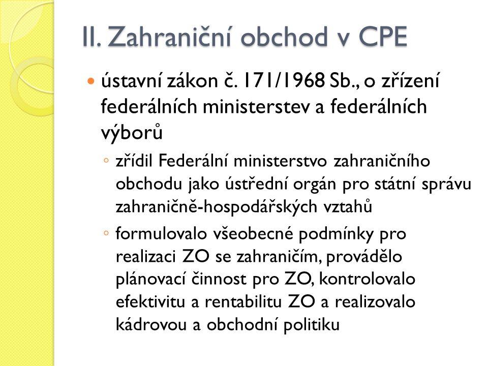 II.Zahraniční obchod v CPE ústavní zákon č.