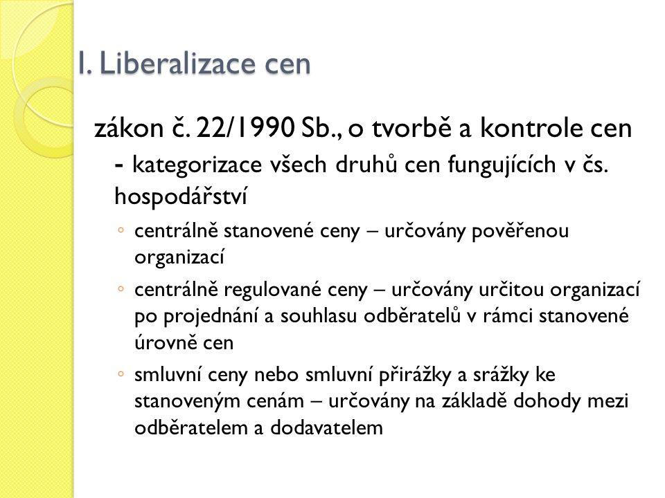 I. Liberalizace cen zákon č. 22/1990 Sb., o tvorbě a kontrole cen - kategorizace všech druhů cen fungujících v čs. hospodářství ◦ centrálně stanovené