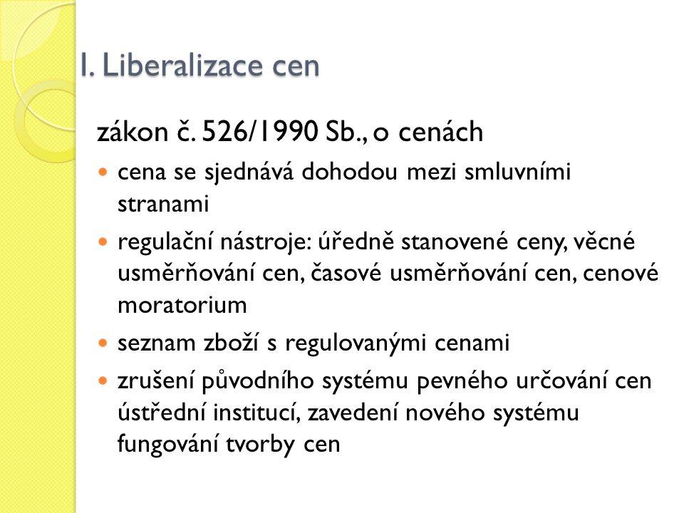 I. Liberalizace cen zákon č. 526/1990 Sb., o cenách cena se sjednává dohodou mezi smluvními stranami regulační nástroje: úředně stanovené ceny, věcné