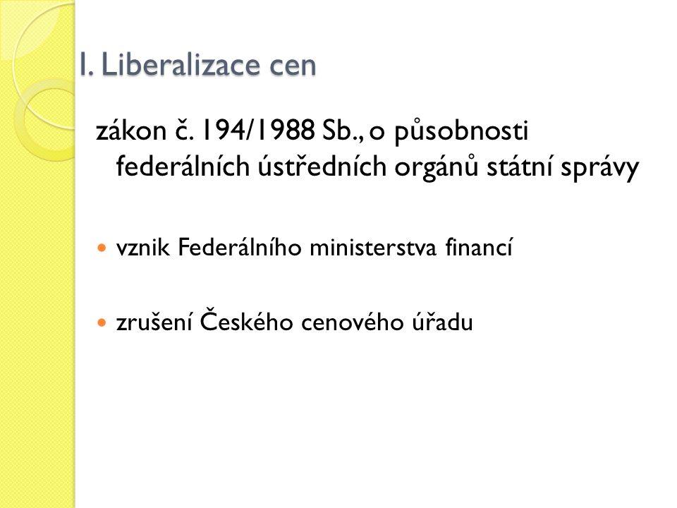 I. Liberalizace cen zákon č. 194/1988 Sb., o působnosti federálních ústředních orgánů státní správy vznik Federálního ministerstva financí zrušení Čes