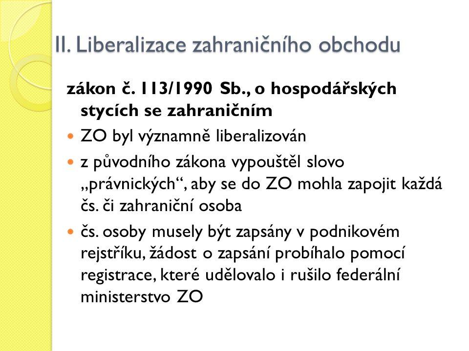 II. Liberalizace zahraničního obchodu zákon č. 113/1990 Sb., o hospodářských stycích se zahraničním ZO byl významně liberalizován z původního zákona v