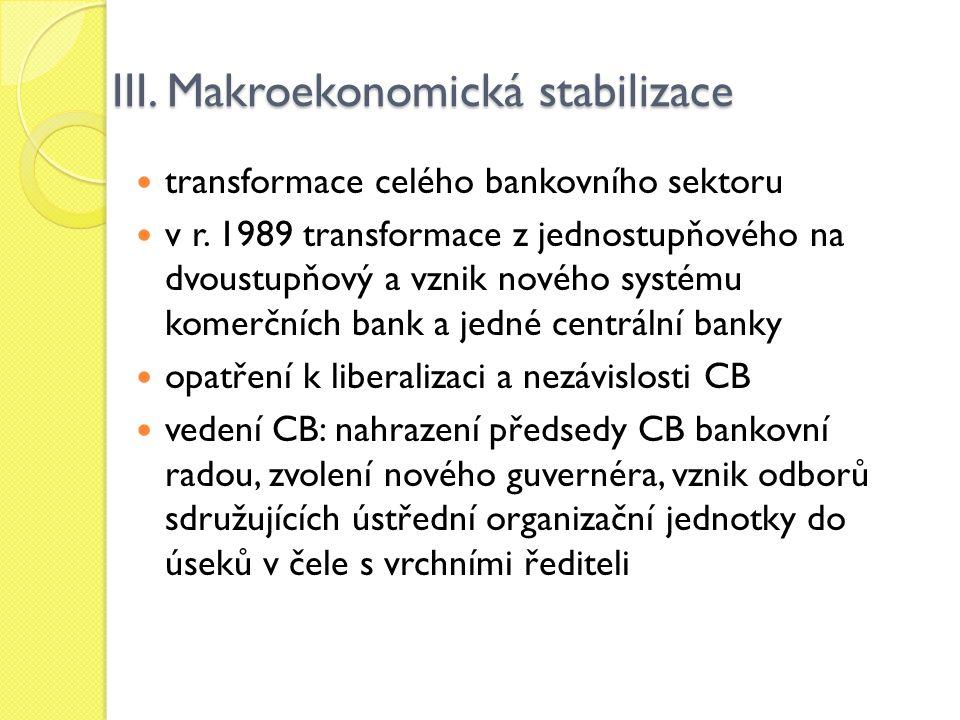 III. Makroekonomická stabilizace transformace celého bankovního sektoru v r. 1989 transformace z jednostupňového na dvoustupňový a vznik nového systém