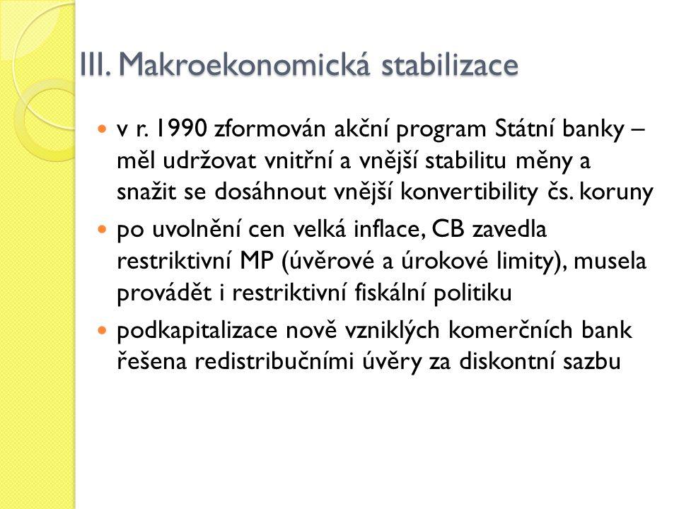 III. Makroekonomická stabilizace v r. 1990 zformován akční program Státní banky – měl udržovat vnitřní a vnější stabilitu měny a snažit se dosáhnout v